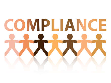 Compliance cut out paper people chain in different skin tone colors