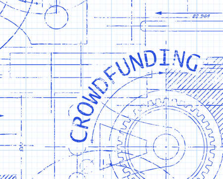 crowdsource: Crowdfunding text with gear wheels hand drawn on graph paper machine background Illustration
