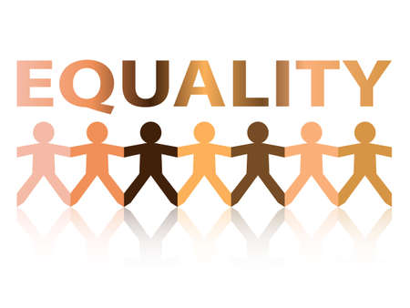 Equality cut out paper people chain in different skin tone colors Illustration