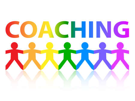 Coaching cut out paper people chain in rainbow colors