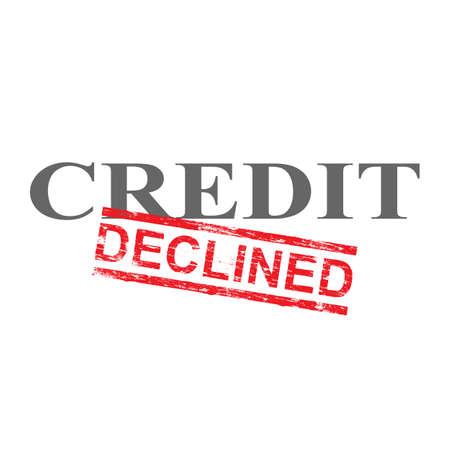 Daalde grungy rode rubberzegel over de illustratie van het kredietwoord
