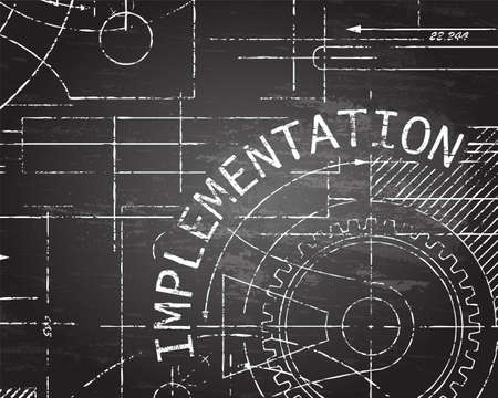 Implementation text with gear wheels hand drawn on blackboard technical drawing background
