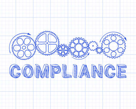 controlling: Compliance word with gear wheels on graph paper background illustration