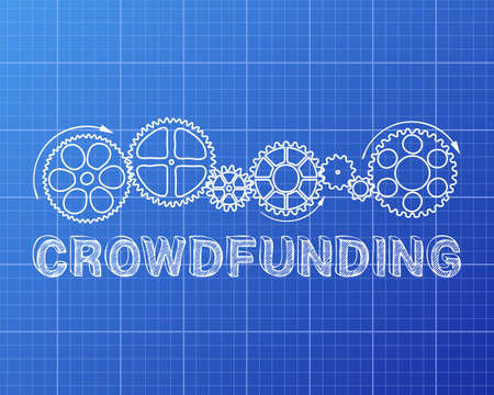 crowdsource: Crowdfunding text with gear wheels hand drawn on blueprint background