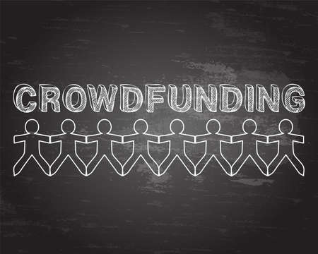 crowdsource: Crowdfunding hand drawn text and cut out paper people chain on blackboard background