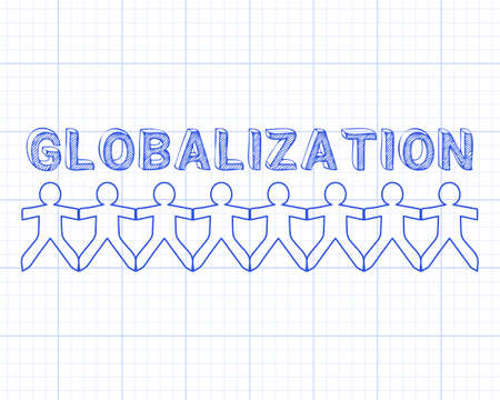 diversify: Globalization hand drawn text and cut out paper people chain on graph paper background