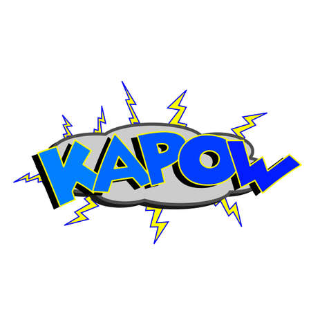 clang: Cartoon kapow colorful text caption illustration