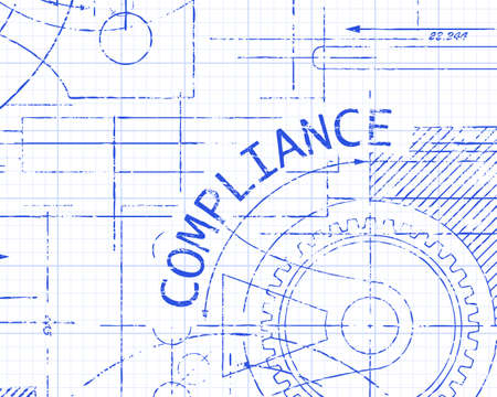 regulated: Compliance word with gear wheels on graph paper machine illustration
