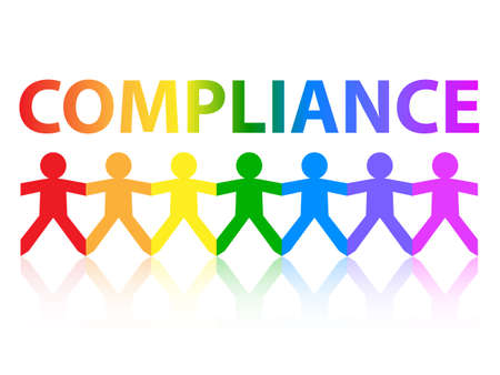 regulated: Compliance cut out paper people chain in rainbow colors