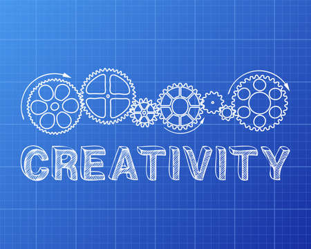 invent: Creativity text with gear wheels hand drawn on blueprint