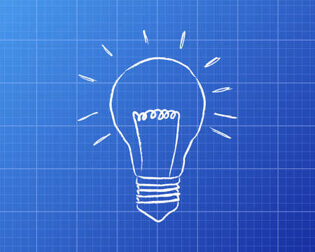 Light bulb drawing on blueprint background
