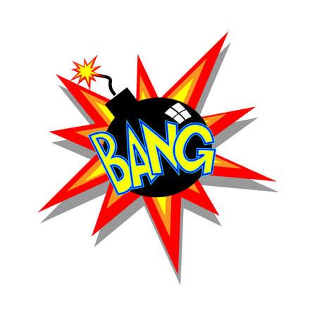 comedic: Cartoon bomb going bang colorful text caption illustration