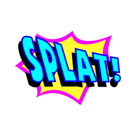 clang: Cartoon splat colorful text caption illustration