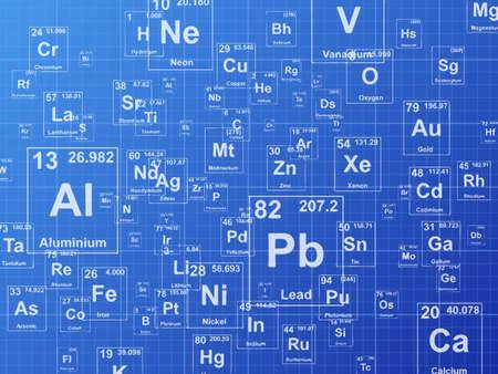 Chemische elementen. Achtergrond illustratie op blauwdruk