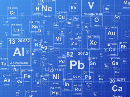 Chemical elements. Background illustration on blueprint Vettoriali