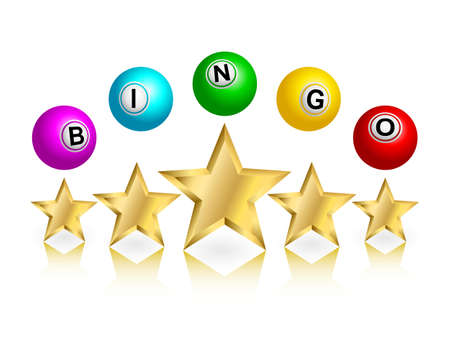 gambling game: Bingo word on balls with gold stars