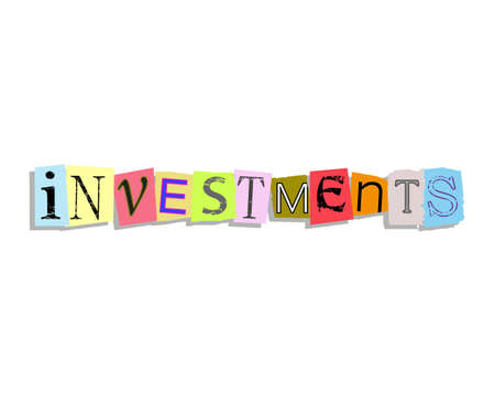 Investments word in torn paper letters text Illustration