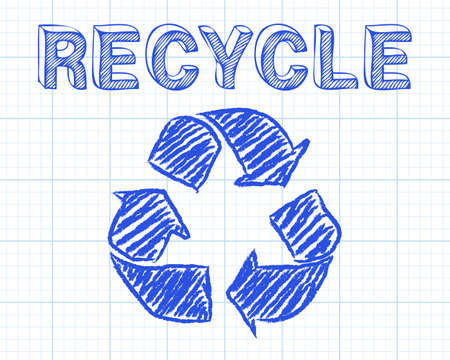 recycling symbols: Recycled symbol and word drawn on graph paper background