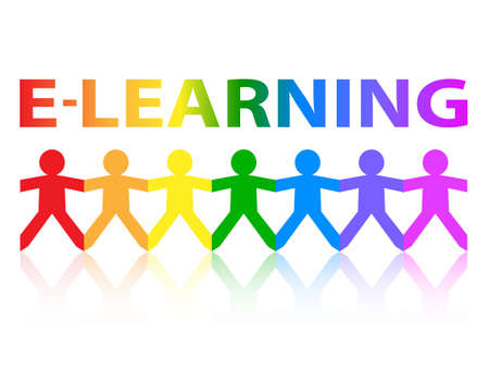 online degree: E Learning cut out paper people chain in rainbow colors