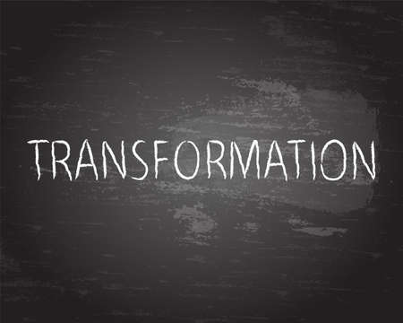 adapting: Transformation hand drawn text on blackboard background