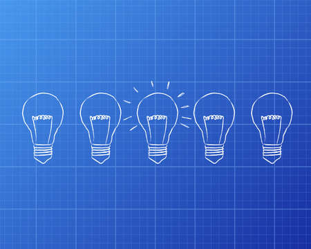 concepts and ideas: Line of five lights bulbs with middle bulb illuminated on blueprint background Illustration