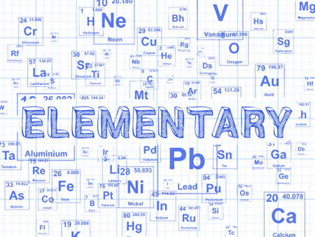 Elementary word on periodic table symbols graph paper background Illustration