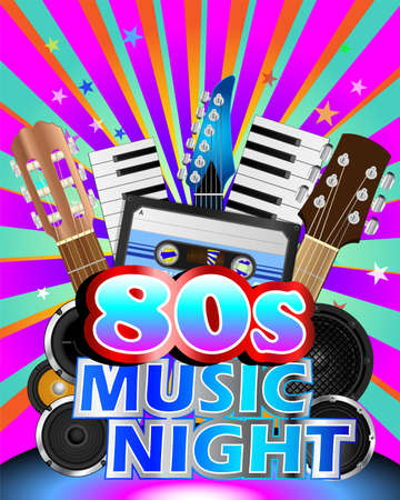 Colorful poster for eighties music night