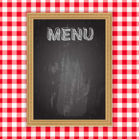 caf: Blackboard with menu word in chalk on table cloth background