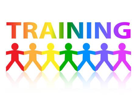 Formación cortar la cadena de personas de papel en colores arco iris