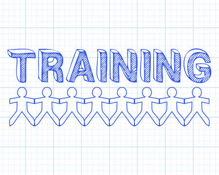qualified worker: Training hand drawn text and cut out paper people chain on graph paper background Illustration