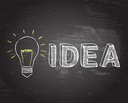 Light bulb and hand drawn idea text on blackboard background