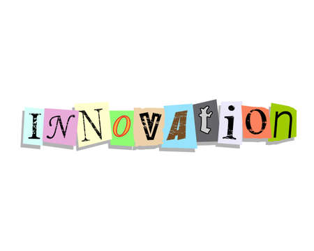 innovating: Innovation word in torn paper letters text