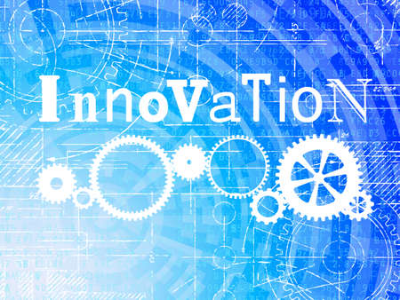 Innovation word on high tech blueprint and data background