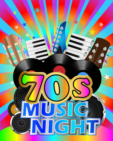 Colorful poster for seventies music night