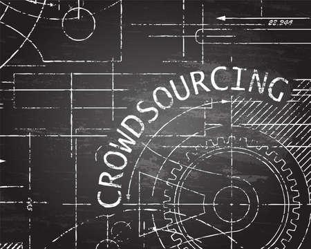 Crowdsourcing word on machine blackboard background illustration