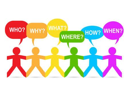 Pessoas de papel colorido arco-íris com bolhas do discurso de pergunta