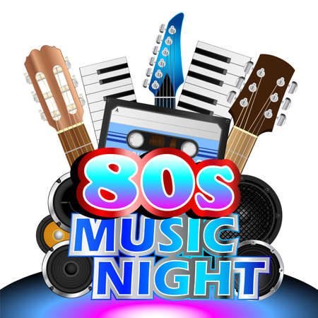 Cassette tape and instruments background for eighties music night Illustration