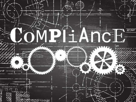 regulated: Compliance sign and gear wheels technical drawing on blackboard background