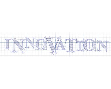 idea: Innovation word in technical drawing on graph paper