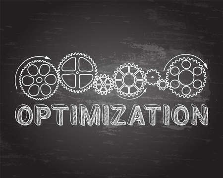 expanding: Optimization text with gear wheels hand drawn on blackboard background Illustration