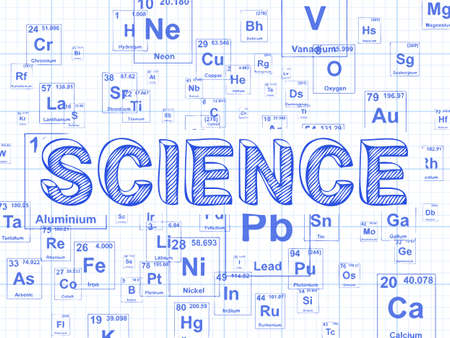 Science word on periodic table symbols graph paper background Illustration