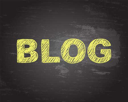 weblog: Blog word in yellow chalk on blackboard background