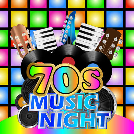 music background: Vinyl records and instruments on disco background for seventies music night
