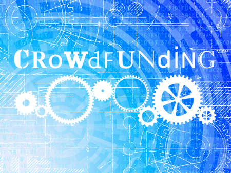 Crowdfunding word on high tech blueprint and data background Illustration