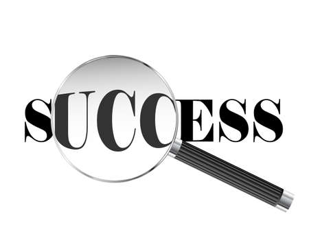 Success text viewed under magnifying glass illustration Illustration