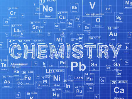 Chemistry word on periodic table symbols blueprint background Illustration