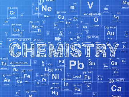 Chemistry word on periodic table symbols blueprint background Çizim