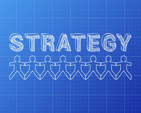 people in action: Strategy text hand drawn with paper people on blueprint background