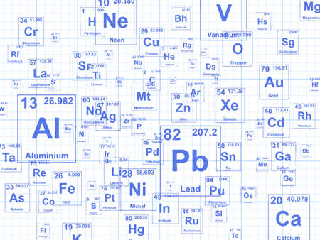 Chemical elements. Background illustration on graph paper Illustration