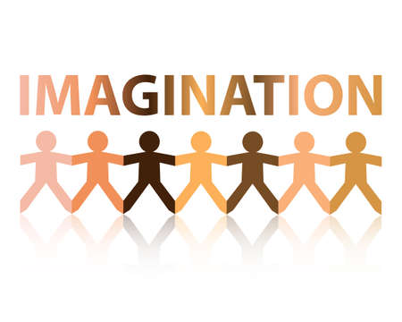 Imagination cut out paper people chain in different skin tone colors Illustration